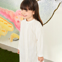 【2件2.5折券价:109.75元】马拉丁童装女大童衬衫春装2020年新款中长款白色儿童衬衫裙子