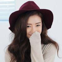 小辣椒羊毛呢帽子 冬季英伦复古女礼帽爵士帽大檐帽子