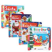 繁忙系列4册英文原版Busy Christmas/Santa忙碌的圣诞节老公公主题纸板机关操作活动书儿童早教启蒙英文版