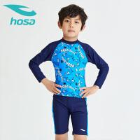 hosa浩沙儿童分体泳衣泳裤男童2019春夏新款长袖防晒宝宝泳装套装