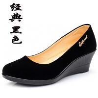 春秋老北京布鞋女鞋单鞋坡跟平底工装高跟黑色工作鞋跳舞鞋女 黑色 偏大