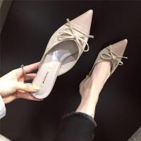拖鞋2019春季新款女鞋浅口蝴蝶结细跟穆勒拖包头小香风精致尖头拖