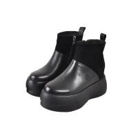 欧洲站春季内增高时尚坡跟鞋毛线袜子真皮加绒保暖短靴女一件 黑色