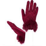 新款女款潮流时尚羊毛保暖女士手套 蕾丝兔毛口优雅开车手套
