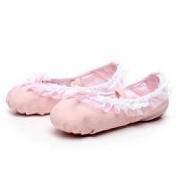 粉色幼儿童舞蹈鞋女软底练功鞋园花边蕾丝宝宝公主跳舞鞋芭蕾舞鞋