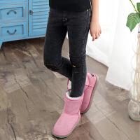 女童一体绒牛仔裤加厚冬新款中大儿童打底裤外穿长