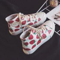 高帮草莓帆布鞋女2019春季新款板鞋女街拍小白鞋女百搭原宿风