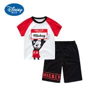 迪士尼童装夏季新款男童短袖T恤五分裤儿童米奇洋气2件套中小童潮