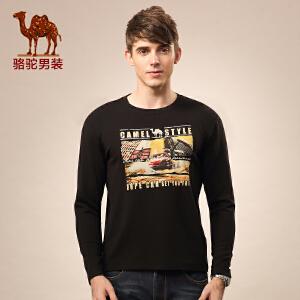 Camel/骆驼新款休闲长袖T恤 圆领纯色印花加绒加厚t恤 男