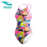 hosa浩沙连体三角泳衣女2018新款可爱青少女泳衣时尚显瘦泳装
