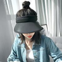 遮阳帽女夏季防晒帽遮脸百搭骑车防紫外线空顶韩版潮大沿太阳帽子