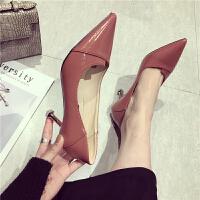 高跟鞋尖头浅口细跟酒杯跟低帮鞋通勤时尚百搭韩版学生女士高跟鞋