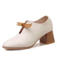 2019春季新款英伦小皮鞋粗跟深口单鞋复古休闲方头高跟女鞋子