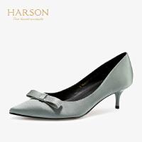 【 限时4折】哈森 2019春新款通勤尖头单鞋 细跟正装蝴蝶结5CM高跟鞋女 HS96401