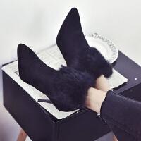 BANGDE尖头短靴2018秋季新品时尚毛毛流苏靴性感细跟高跟马丁靴