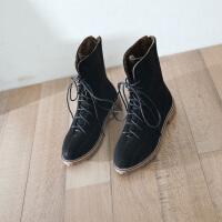 马丁靴女英伦风2018新款学生百搭复古系带粗跟短靴女冬帅气机车靴