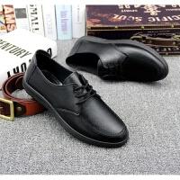 男士黑色工作鞋酒店厨房专用耐穿防滑上班鞋休闲鞋皮鞋软底面 黑色
