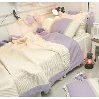 韩式公主紫色棉夏凉被空调被空调毯枕套被罩套件三四件套s