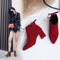 马丁靴冬季女加绒韩版英伦秋季磨砂复古粗跟中跟高跟靴短靴大学生