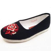 老北京布鞋女单鞋休闲鞋 复古纯手工纳底千层底布鞋 红牡丹