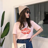 T恤 女士印花圆领宽松大码短袖2019夏季新款韩版时尚女式洋气套头衫女装半袖