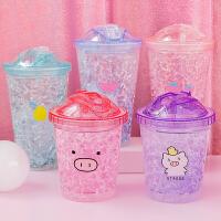 夏季学生便携塑料随手杯 创意可爱少女带盖杯子