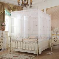 蚊帐拉链四开门坐床方帐加高加密方顶公主宫廷坐式蚊帐 白色 1.5m(5英尺)床