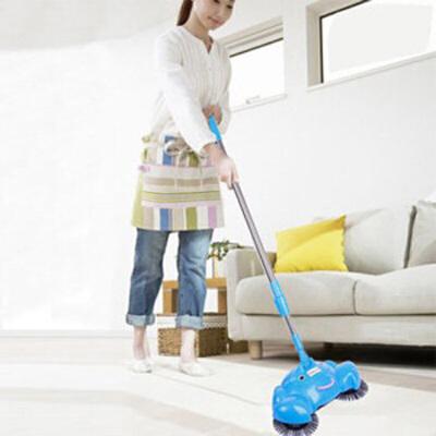 时尚家用方便实用伸缩型不锈钢拉杆手推式扫地机 蓝色