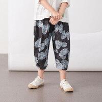 【5折券预估价:169.5元】马拉丁童装女童裤子2020夏装新款艺术图案满印舒适棉布长裤
