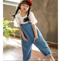 女童牛仔背带裤春装宝宝宽松休闲裤儿童洋气裤子