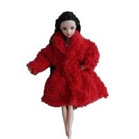 芭比娃娃衣服冬季 毛绒芭芘冬季外套棉大衣洋娃娃时尚休闲女孩衣服游戏换装 只是衣服(不包含娃娃)