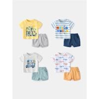 婴儿套装夏季女婴幼儿衣服夏天薄款宝宝短袖夏装男小童两件套