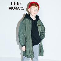 littlemoco男女童洋气外套加厚加绒仿羊羔毛儿童棒球夹克棉服外套
