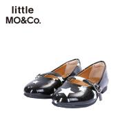 littlemoco秋季新品女童星星印花银色丝绒一字扣低跟休闲鞋子