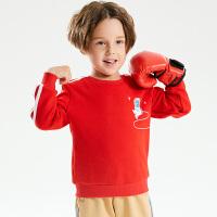【2件3折秋冬装:49.5】小猪班纳童装男童卫衣2021冬季宝宝长袖上衣儿童条纹加绒衫