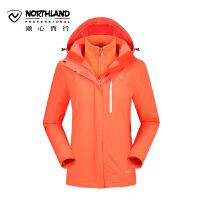 【品牌特惠】诺诗兰户外女式加厚抓绒三合一冲锋衣两件套GS052510