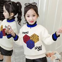 儿童卫衣 女童加绒加厚卫衣2020冬季新款韩版保暖豹纹绒衣女童中大童长袖套头衫