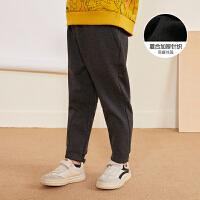 【3件7折价:195.3元】马拉丁童装男大童裤子冬装新款复合加厚针织休闲百搭儿童裤子