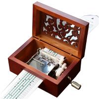 音乐盒 礼物送女友复古手摇纸带谱曲音乐盒木质八音盒创意生日礼物送老婆闺蜜
