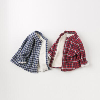 [领90元卷]【加绒】davebella戴维贝拉2019冬季新款男童宝宝格子衬衫DB11767