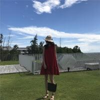 新款连衣裙 韩版气质无袖圆领宽松腰红色荷叶边短裙夏季娃娃装连衣裙 红色 均码