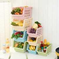 加厚蔬菜水果厨房置物架杂物收纳筐储物架厨房用品用具三只装