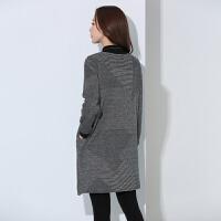 新年特惠加肥大码女装韩版针织连衣裙秋冬新款女中长款宽松保暖高领打底衫 灰色