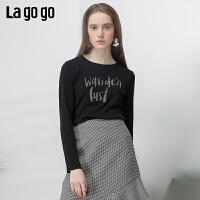 【5折价64】Lagogo拉谷谷2019春季新款上衣百搭字母贴布长袖T恤女IATT511A04