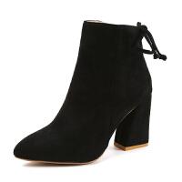 马丁靴高跟鞋秋冬单靴磨砂皮短靴女士靴子尖头裸靴粗跟 黑色 绒面款