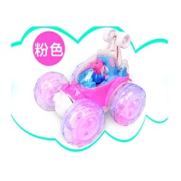 小猪佩琪遥控车佩奇翻滚车特技翻斗车充电动汽车男女孩儿童玩具车 粉红色 18cm大号 遥控器电池+螺丝刀+拼图
