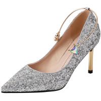 婚鞋女2019新款礼银色法式少女高跟鞋小清新礼服细跟水晶单鞋 银色 7厘米