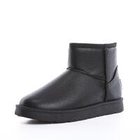 皮面雪地靴男冬季加绒棉靴中老年加厚保暖耐磨防滑男士老人棉鞋子