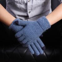 触屏手套男士冬季加厚加绒保暖针织毛线骑车防寒开车韩版户外玩手机游戏