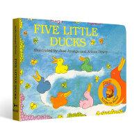 【中商原版】Raffi歌谣绘本五只小鸭子 英文原版 Five Little Ducks 韵律儿歌童谣 纸板书
